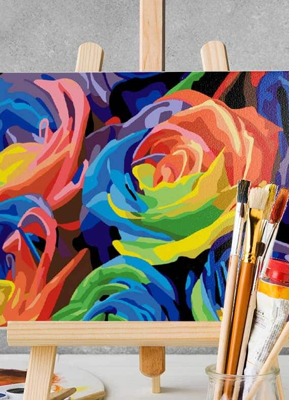 Malowanie po numerach – Kwiaty na czerni