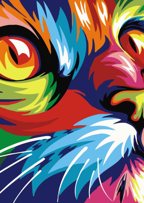 Malowanie po numerach – Kot kolorowy