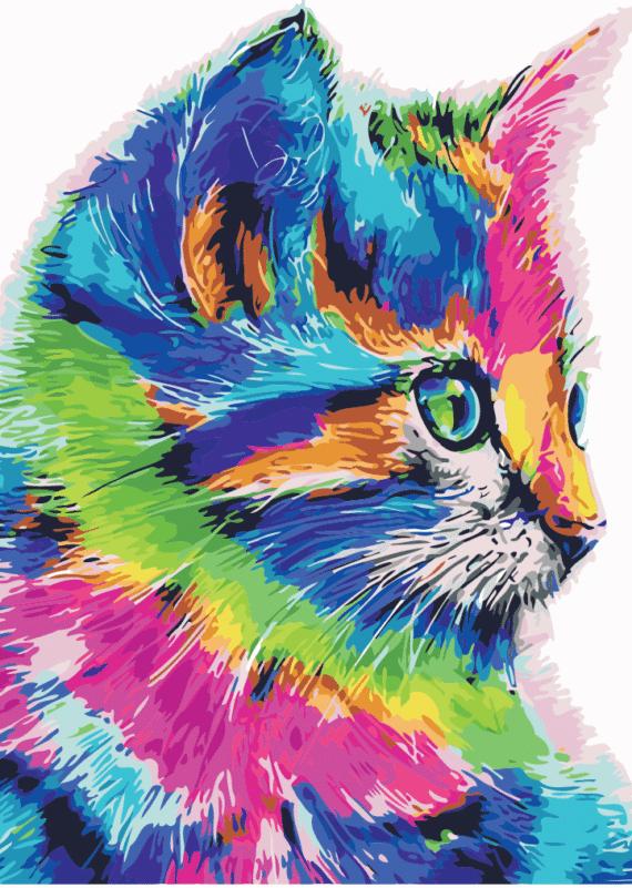 Malowanie po numerach – Kot z profilu