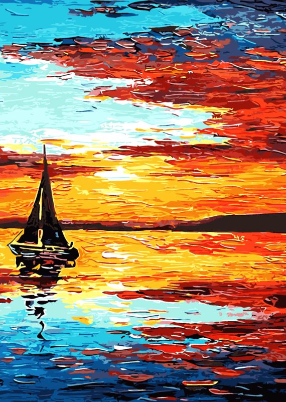 Malowanie po numerach – Żaglówką o zachodzie słońca