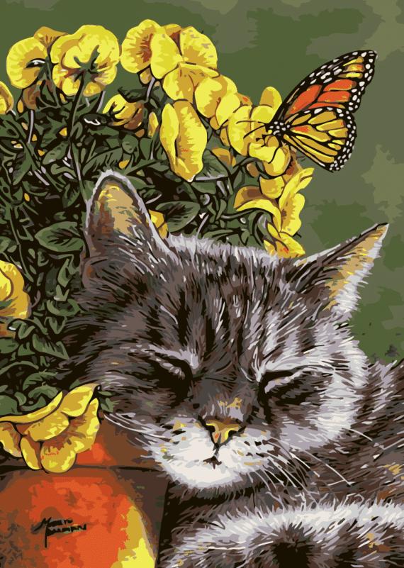 Malowanie po numerach – Drzemiący kotek