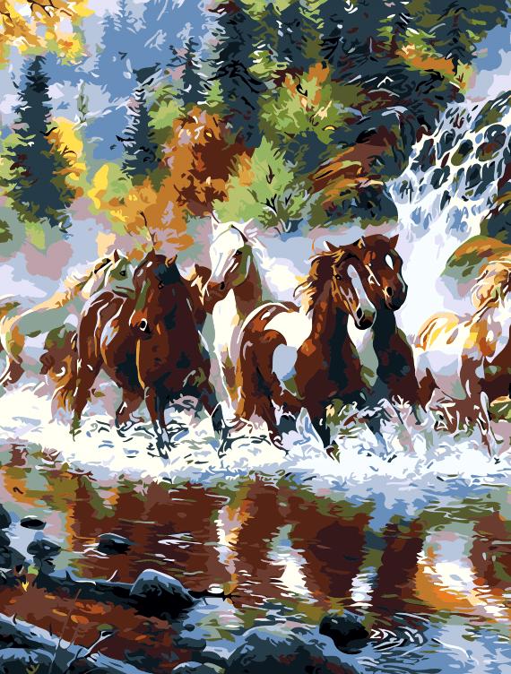 Malowanie po numerach – Konie przez rzekę