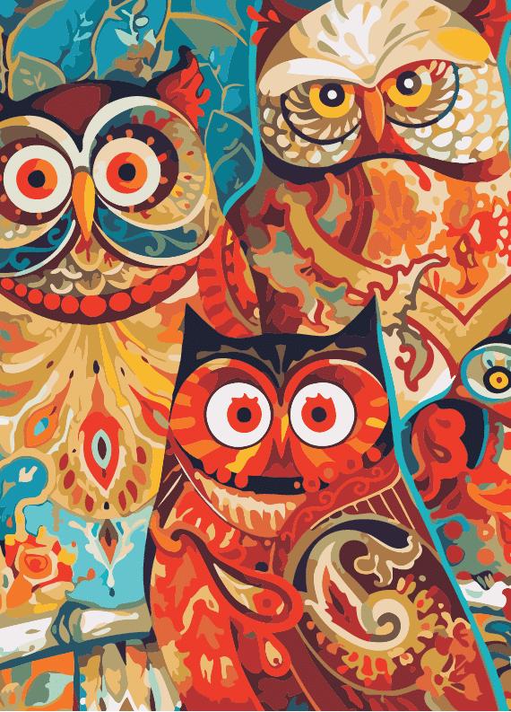 Malowanie po numerach – Mądre sowy