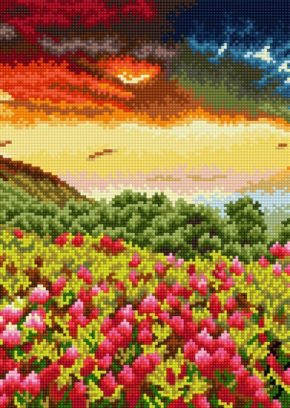 Haft diamentowy – Polana kwiatów