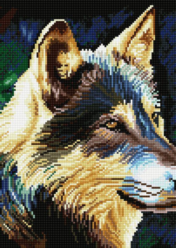 Haft diamentowy – Wilk